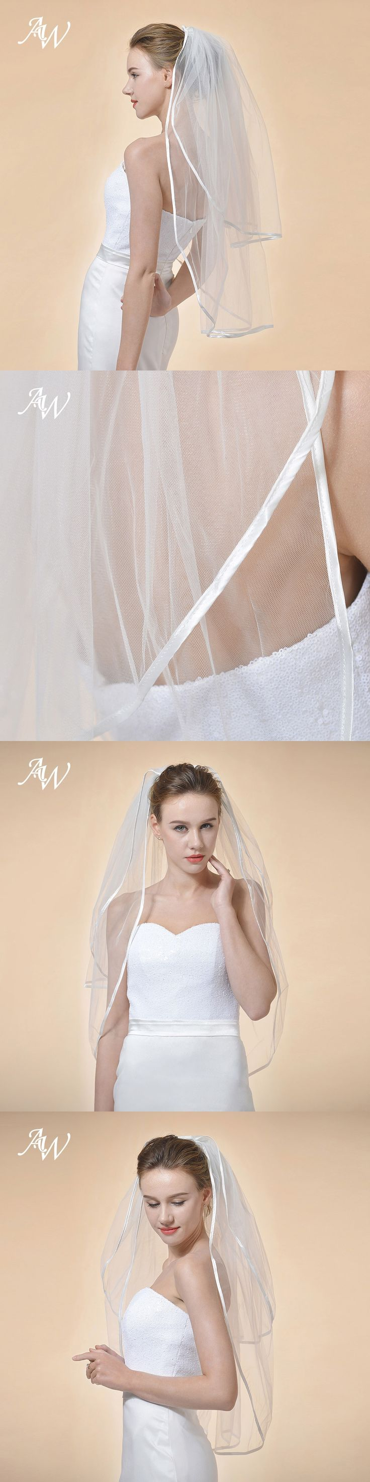 AW 2 Tiers Wedding Veil Shoulder Length Short Bridal Veil with Ribbon Satin Edge Bridal Accessories Ivory Veil