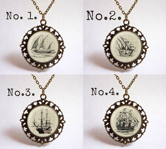 Choose your style Vintage Sailing boat pendant. by OldeOwlPendants