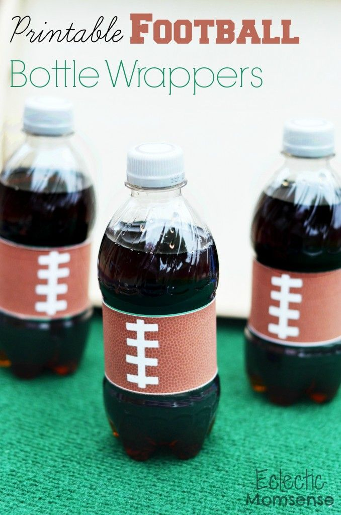 Print up these adorable mini football printable bottle wrappers for your next game day party. 9 other football DIY's and recipes.
