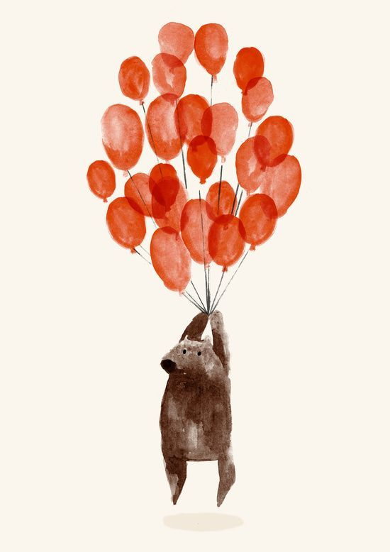 A little bear with it's balloons. Animal art for a children's room.