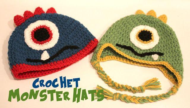 Crochet Monster Hats: Crochet Ideas, Hats Patterns, Crochet Projects, Free Crochet, Crochet Hats, Crochet Monsters Hats, Free Patterns, Crochet Patterns, Repeat Crafter Me