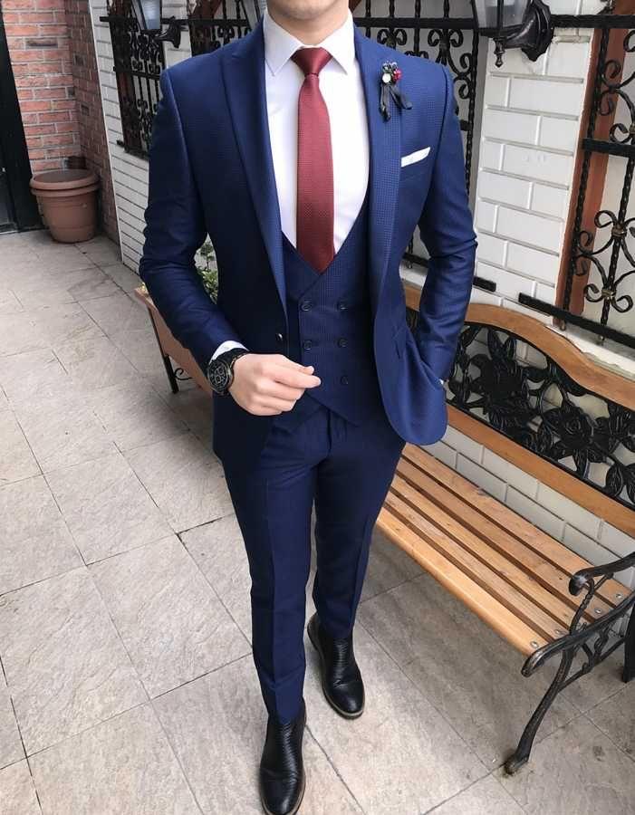 7623899e21e24 İtalyan style erkek ceket yelek pantolon parlement mavi takım elbise T2184