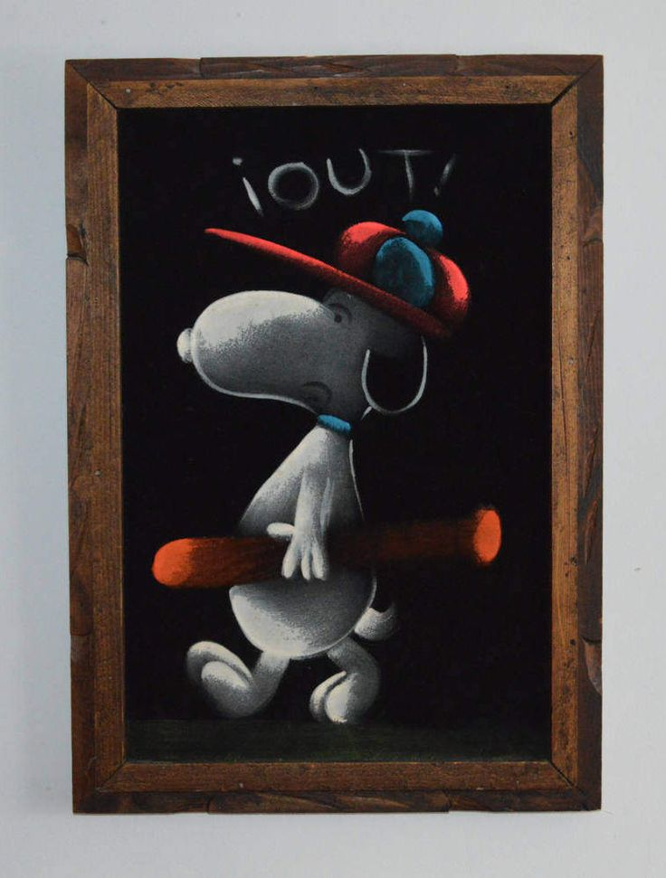 Vintage Snoopy Black Velvet Art, Mexico, Souvenir, Kitsch Art, Snoopy Strikes Out Framed Painting, Kitsch Wall Decor by Retrorrific on Etsy