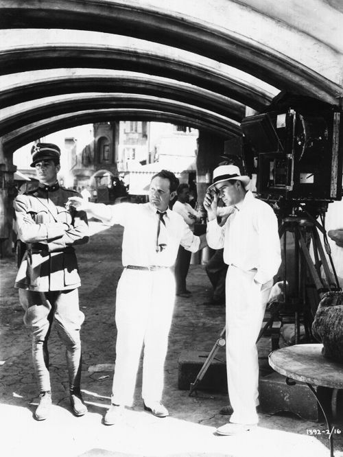 Gary Cooper, director Frank Borzage, and cinematographer Charles Lang on the set of A Farewell to Arms, 1932.