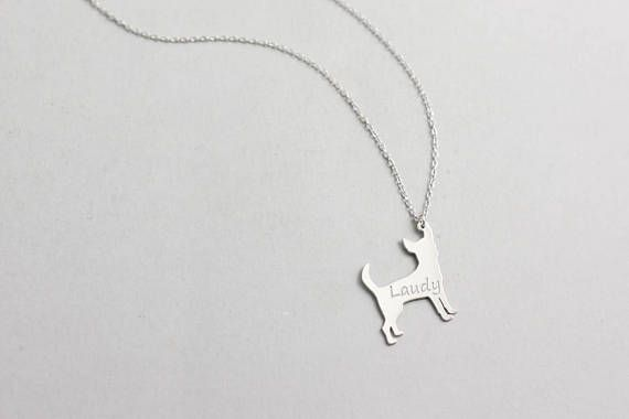 Dog Necklace Personalized, Dog Silhouette Pendant, Silver Pet Jewelry, Pet Memorial Gift, Engraved Name, Dog pendant, Dog Collar, SN0138