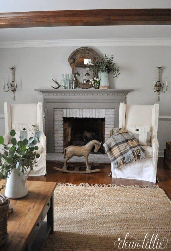Dear Lillie January Family Room Farmhouse FireplaceLiving