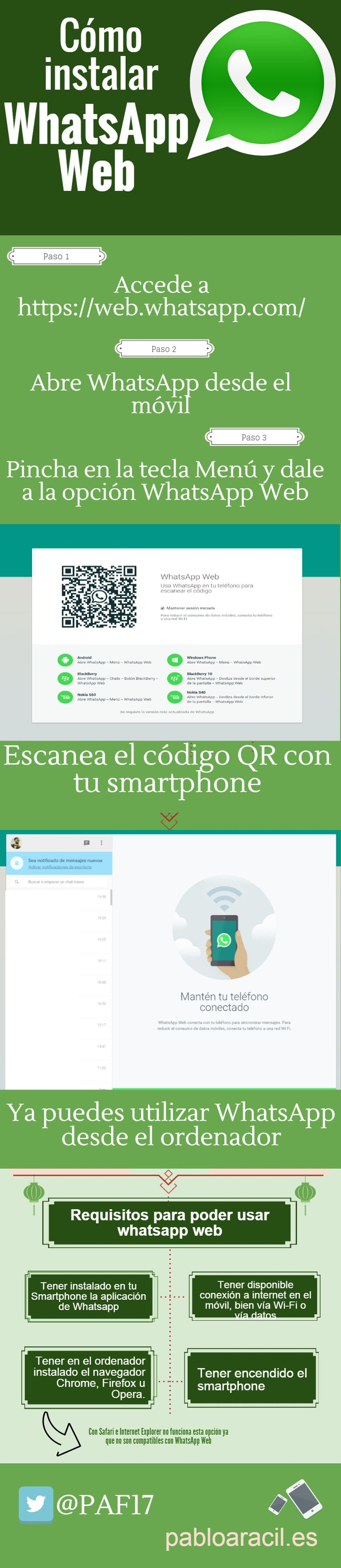 Cómo instalar #WhatsApp #Web #infografia