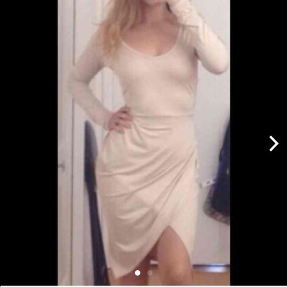 Nude dress Nude dress meant for girls with bigger bottoms girl in pic is not me and I'm using her pic it didn't fit right :( it made my breasts look good but not so much my bottom half doesn't have a tag I'm guessing on the size it fits like small could fit medium and extra small can't ship on Friday afternoons to weekends Dresses Long Sleeve