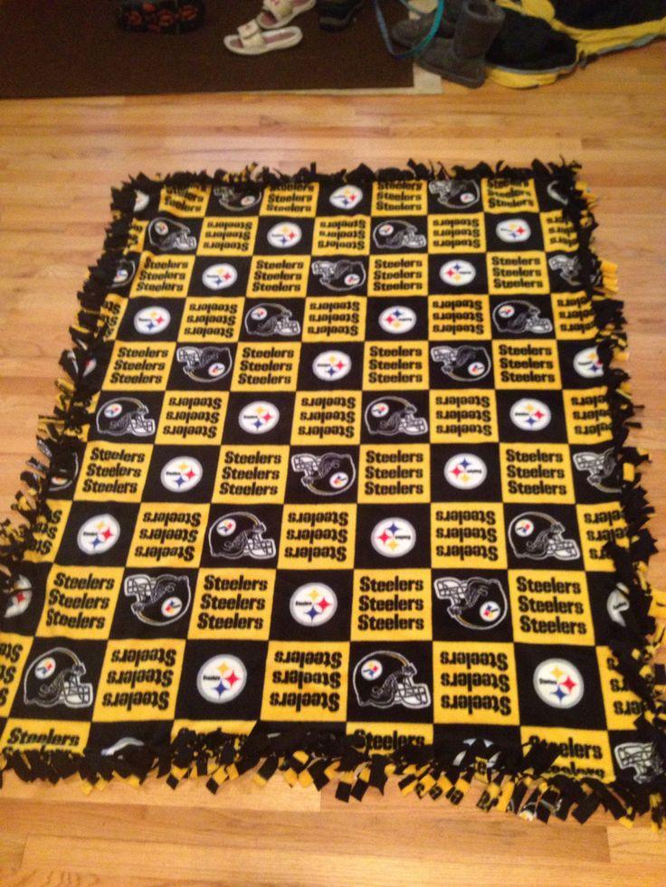 DIY steelers fleece blanket