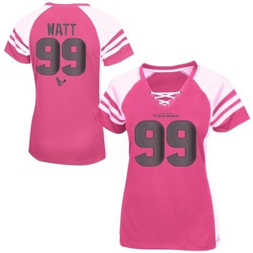 JJ Watt Houston Texans Majestic Women's Draft Him IV T-Shirt – Pink