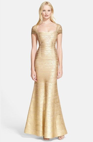 Herve Leger Gold Foil Dresses