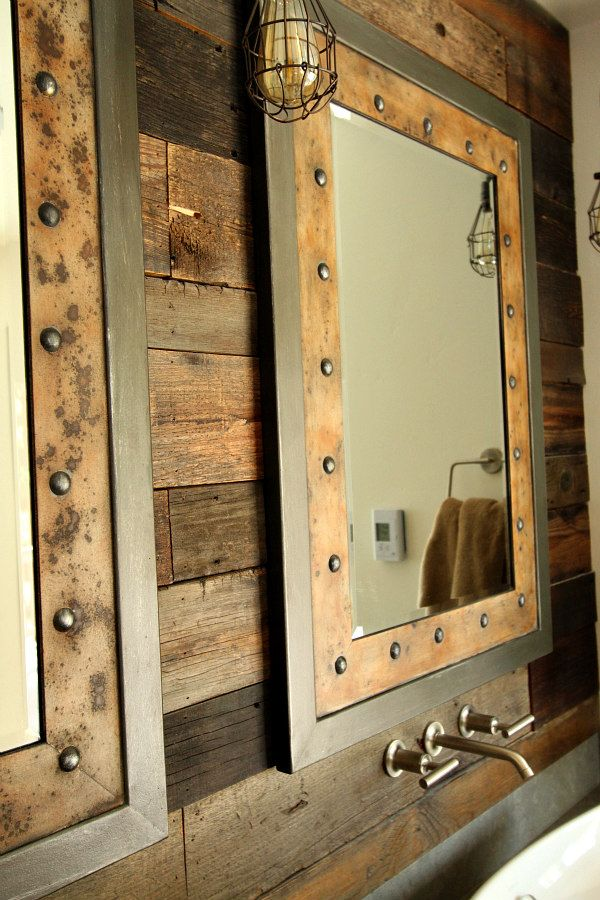 Master Bathroom Remodel Design Details: rustic style bathroom from a luxury home in the mountains of Lake Tahoe, details of products chosen... including these rustic style mirrors.