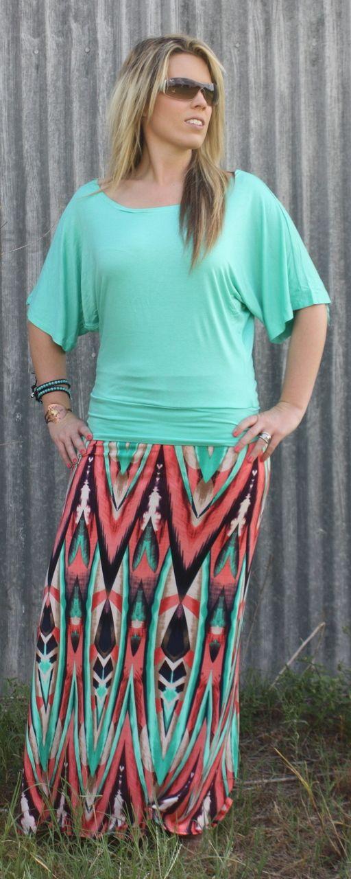 Coral Mint Chevron Zig Zag Maxi Skirt,  (http://www.thetexascowgirl.com/coral-mint-chevron-zig-zag-maxi-skirt/)