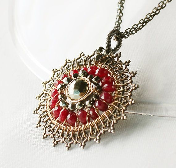 15%sale-  RubyPyrite Necklaceoxidized sterling silver gold fill by sonhee, $165.00