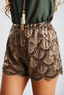 Share to save 10% on  your order instantly!  Sparkle Madness Shorts: Bronze
