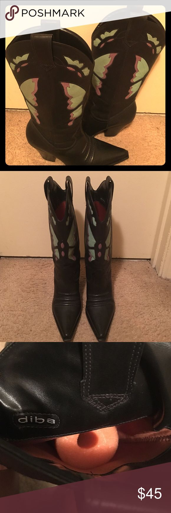 Cowboy boots 👢👢 Beautiful Diba Black leather boots w/ green and purple butterflies 🦋 on them. Worn once Diba Shoes Heeled Boots