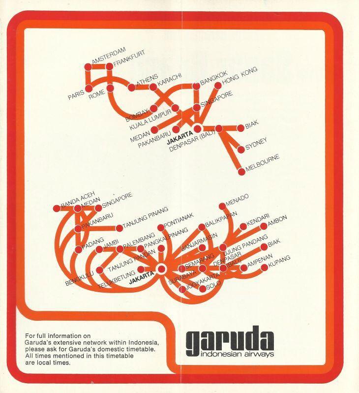 Garuda Indonesian Airways 1975 Timetable Route Map