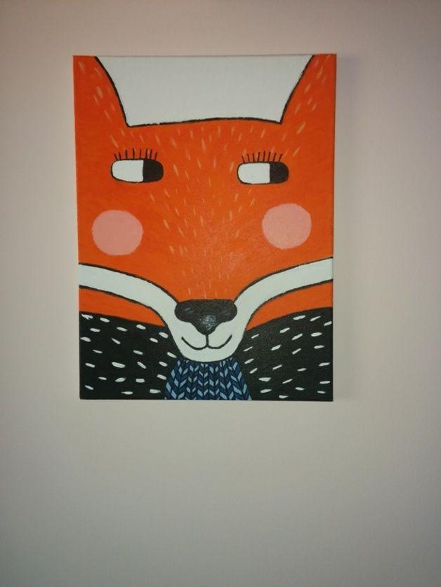 Obraz na płótnie, ręcznie malowany. Fox - lis / handmade