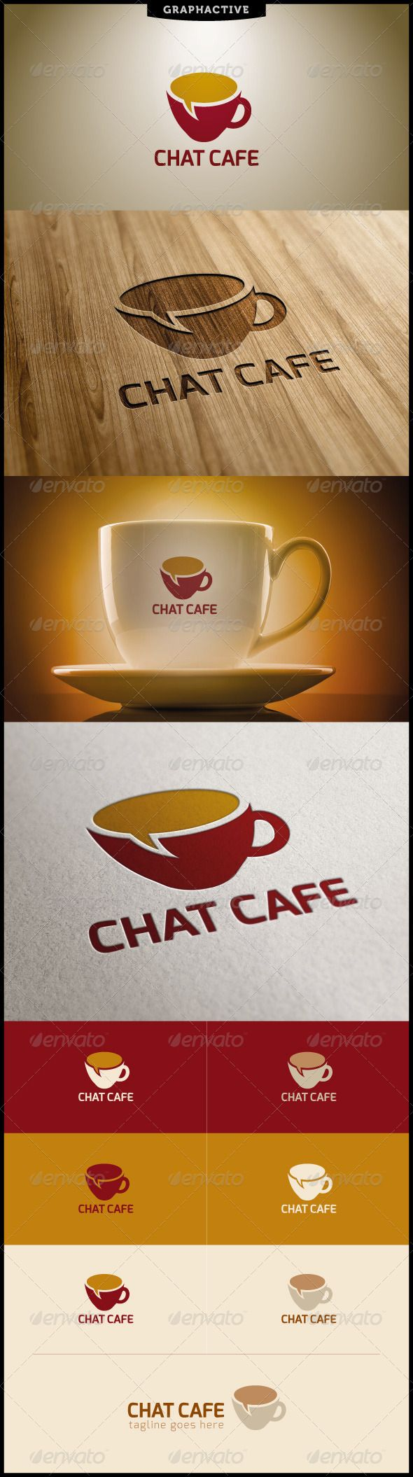 Chat Cafe Logo Template — Vector EPS #coffee #drink • Available here →…