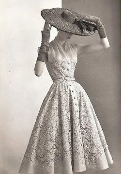 "Pierre Balmain, 1950 - 1950's dress styles gained popularity with the creation of Dior's postwar ""New Look"" in 1947."