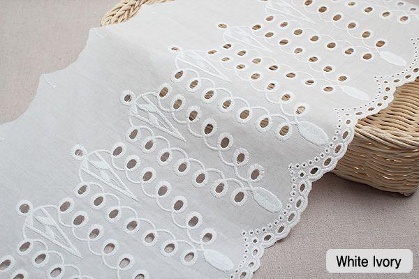 "1y Embroidery scalloped cotton eyelet lace White-Ivory 8.3"" 21cm sh11 laceking"