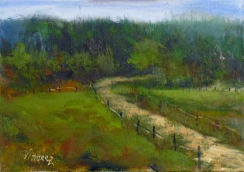 """Spicy Lamb Path ~5x7~ oil on linen""$50.00 - Original Fine Art for Sale - © Vincenza Harrity"