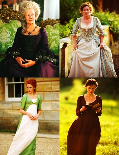 """I find empire line dresses are very ugly, so I did some research. Although the novel was published in 1813, Jane Austen wrote her first draft of ""Pride and Prejudice"", then called ""First Impressions"", around 1797. So we used the fashions of the earlier period, where the waist on dresses was lower and more flattering."" Joe Wright, on the costumes for his 2005 version of ""Pride and Prejudice"""