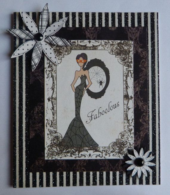 Woman In Black Card Black Dress Halloween Gothic Halloween