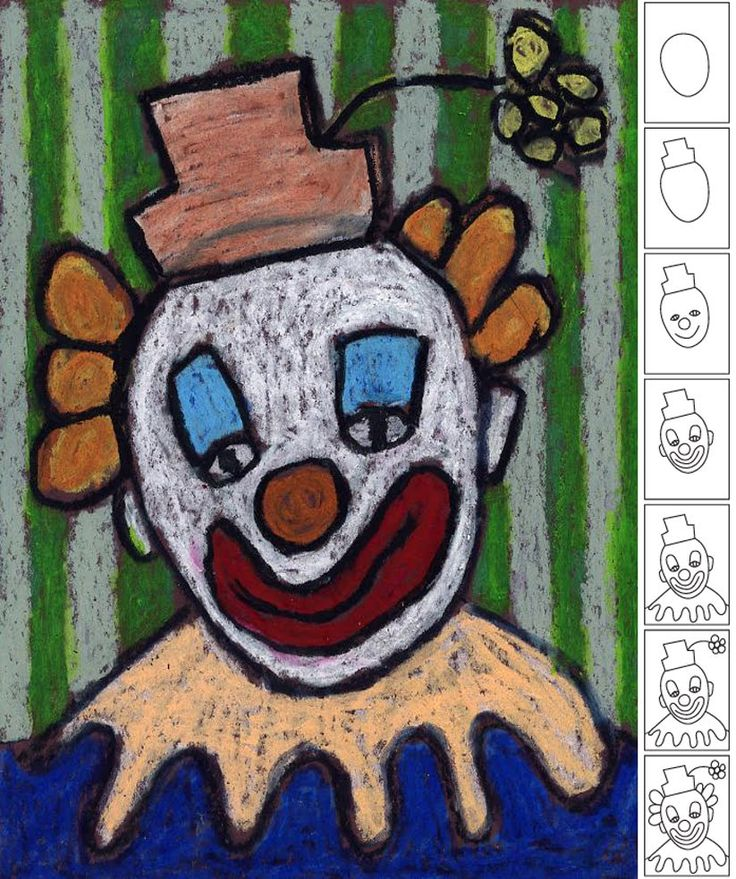 How to Draw a Clown. Oil pastel on black paper. Art Projects for Kids. #clown