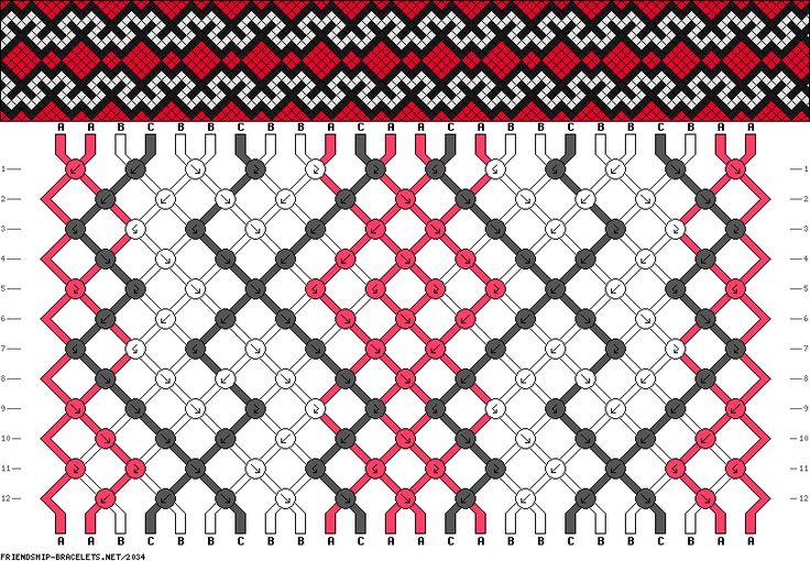 Friendship bracelet pattern 2034 -  24 strings, 3 colours