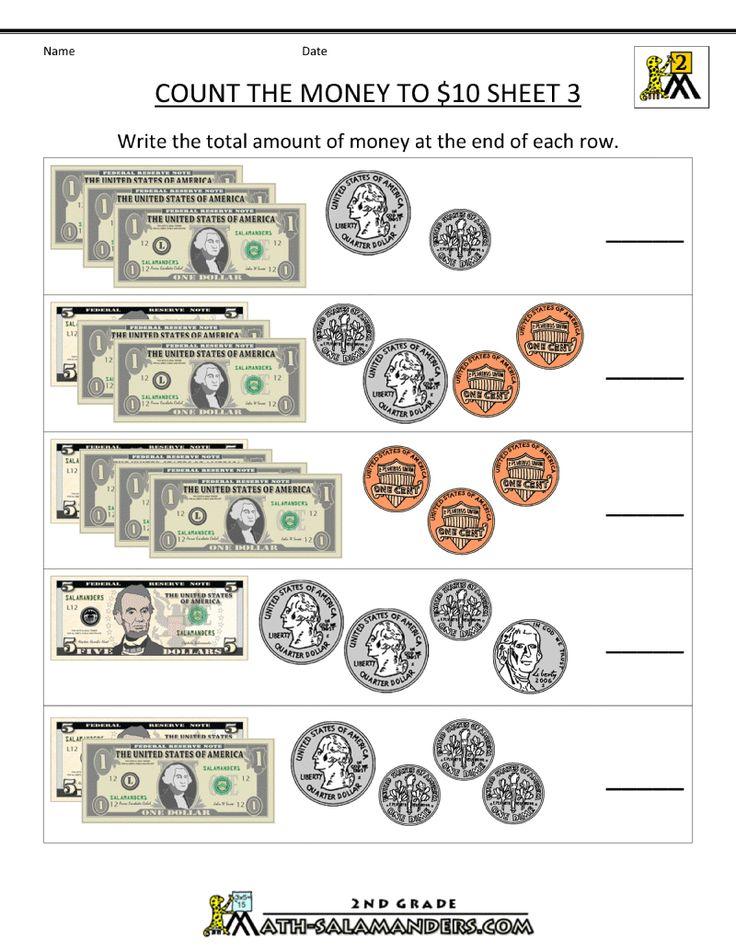 Printable Money Worksheets to 10 Money worksheets