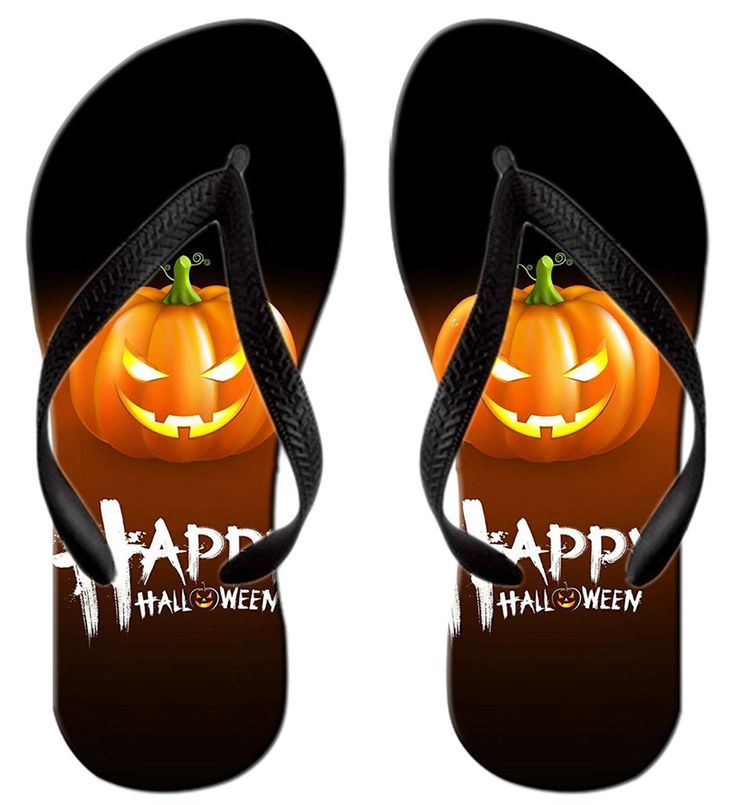 Stylish Lightweight Women's Men's Personalized Happy Halloween V Flip Flops ** Click image for more details.