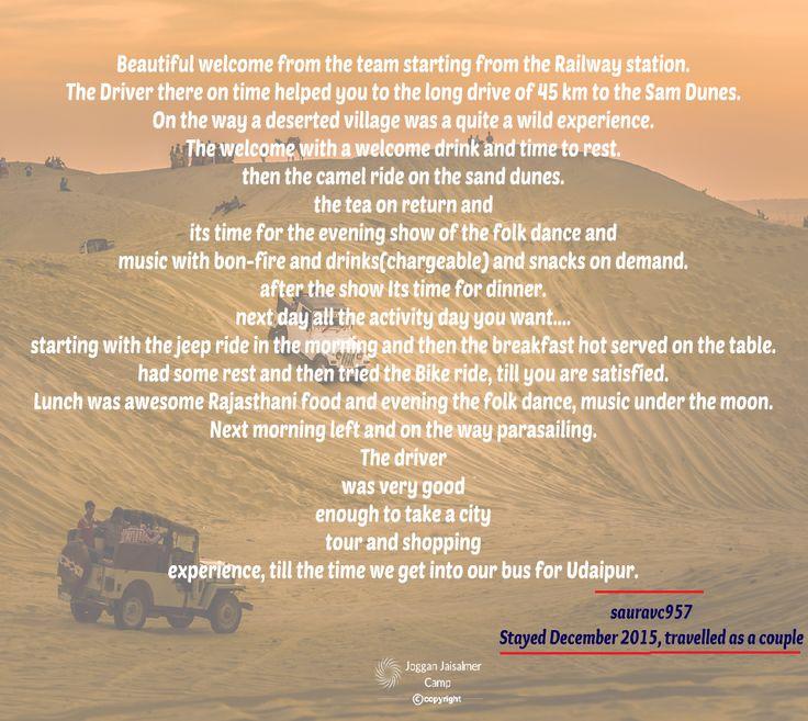 TripAdvisor Reviews - Joggan Jaisalmer Camps More at https://goo.gl/l3asl6