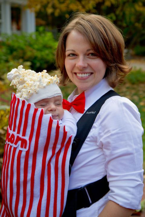 Totally Adorable DIY Infant Halloween Costumes: MOVIE POPCORN. If you can't get to the movies with your baby, you might as well transform his Bjorn into your long lost favorite theater snack with red and white felt and some yellow yarn. See more at This Place Is Now a Home.