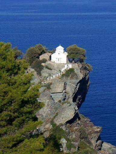 Skopelos island, church where wedding in mama mia filmed