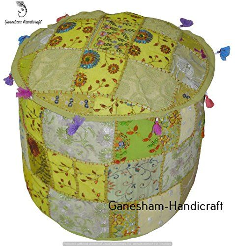 This is a Vintage Cotton Fabric Patchwork Ottoman Cover In Round Shape…….. , *Pouf Cover has Green with Multi Color Patchwork Pattern……. ,. ,* insert is not included. .. * Pouf Cover has a Zipper Closure on Bottom side .. *Vibrant and colorful handmade ottoman pouf cover... see more details at https://bestselleroutlets.com/home-kitchen/furniture/nursery-furniture/product-review-for-indian-handmade-living-room-decor-cover-home-decor-cotton-chair-seating