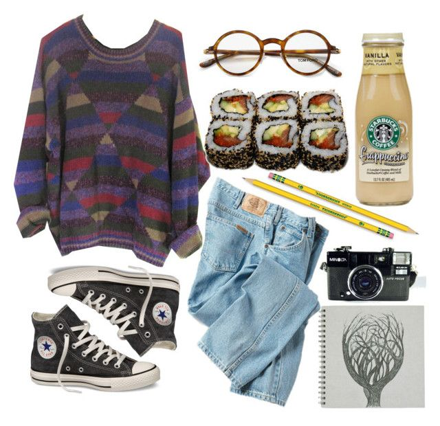"""Grunge Weather"" by emc1397 ❤ liked on Polyvore featuring Dickies, Converse, Jura, Tom Ford, Dixon Ticonderoga, Sweater, grunge, jeans and sushi"