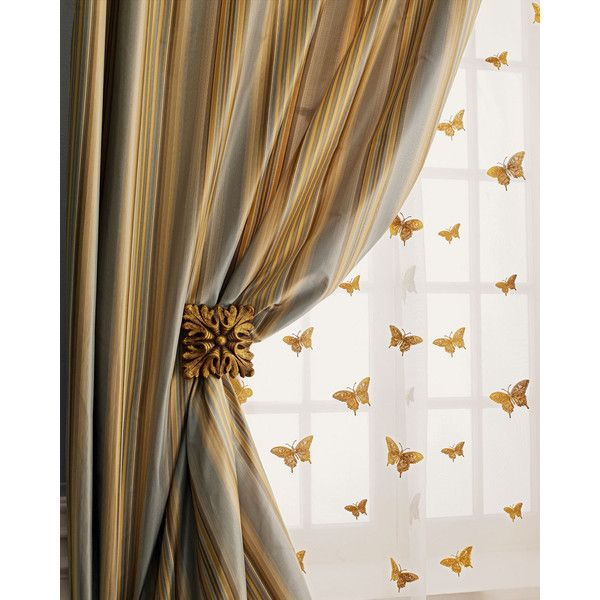 """Each 108""""L Milano Striped Curtain (412 AUD) ❤ liked on Polyvore featuring home, home decor, window treatments, curtains, blue, blue silk curtains, striped curtains, blue stripe curtains, stripe curtains and blue curtains"""