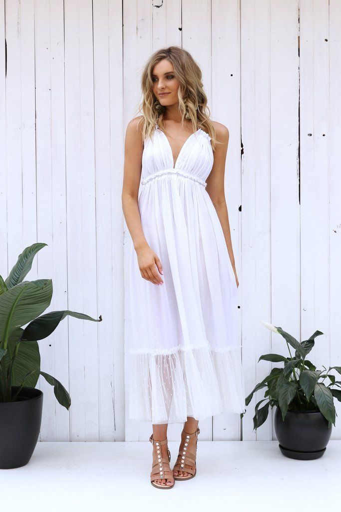 Under $100 |  LOST IN LUNAR ELLETTE MAXI DRESS IN WHITE Channel your inner bohemian goodness with the Ellette Maxi Dress. This backless style features a halter tie top, deep V neckline, ruched bust detail and spotted tulle hem. #bohostyle #springfashion