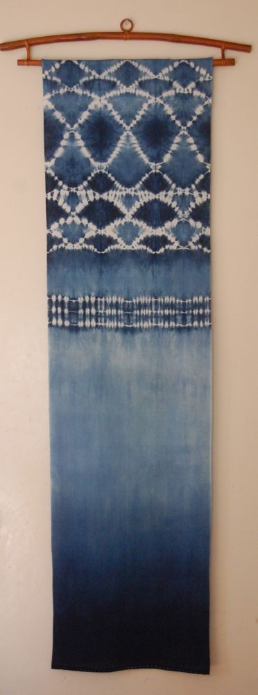 indigo wall panel Indigo shibori on cotton http://shiborigirl.bigcartel.com/product/indigo-wall-panel