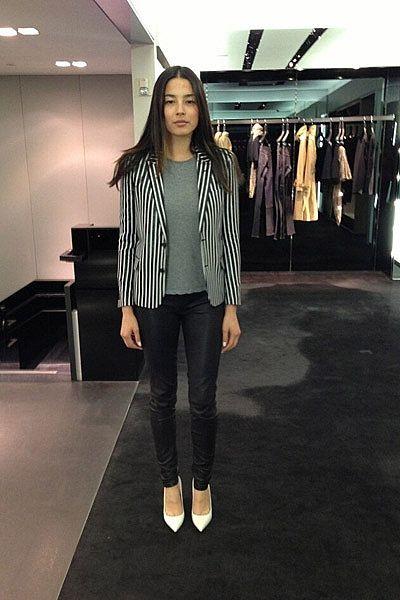 """""""Shopping. Saint Laurent blazer, ALC t shirt, Helmut Lang pants, Saint Laurent heels."""""""