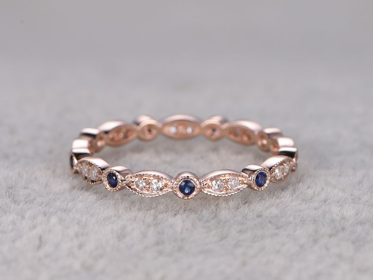 Natural Diamonds Wedding Rings With Blue Sapphire Solid 14K Rose Gold Full Eternity Art Deco Marquise Style Stackable Band