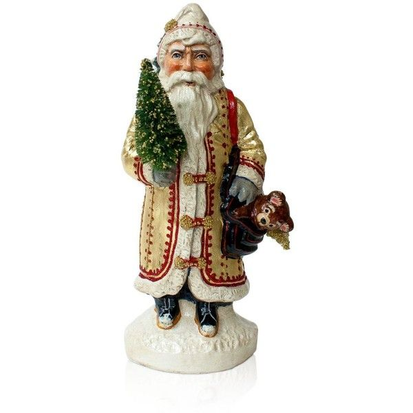 Vaillancourt Gold European Father Christmas ($390) ❤ liked on Polyvore featuring home, home decor, holiday decorations, multi, gold home decor, santa figure, european home decor, father christmas figure and santa claus figure