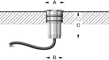 Luminaires à encastrer dans des supports stabilisés percés de découpes Ø30mm · Ø45mm · Ø 70mm. Ces luminaires résistent au passage de véhicules routier...