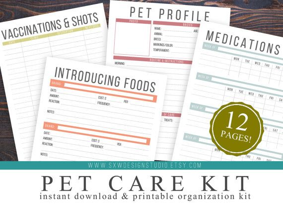 Pet Care Kit Instant Download Printable DIY - pet care - dogs cats puppy puppies kitten fox animals - medications list - medications tracker - pet profiles - pet sitter options - vaccinations and shots - introducing new food - tracking new food - pet care planner and kit