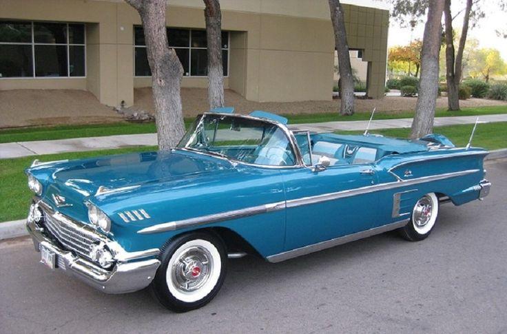 1958 chevrolet blue impala convertible 1958 chevy