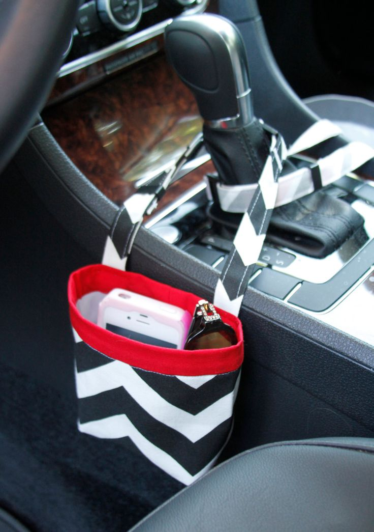 Car Cellphone Caddy ~ Black Chevron with Red Band ~ Center Console