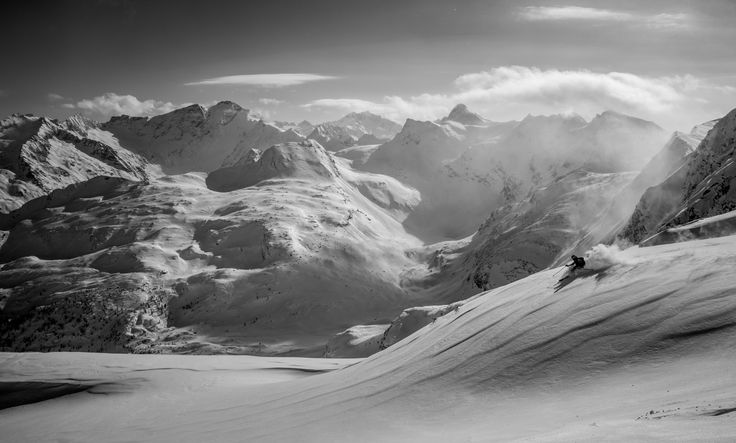 Black and White Powder Skiing by Christoph Oberschneider on 500px