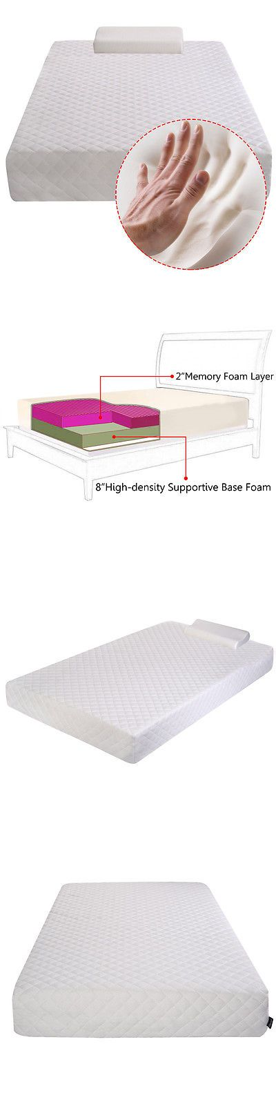 Bedding: New Twin Size 10 Memory Foam Mattress Bed Pad Topper Free Pillow BUY IT NOW ONLY: $139.99
