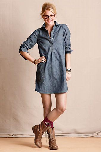 Chambray Shirtdress, brown boots